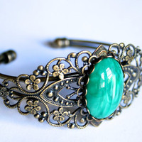 Antique Style Green Jewel Filigree Bracelet