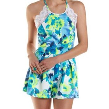 Strappy-Back Lace-Trim Floral Romper by Charlotte Russe - Blue Combo