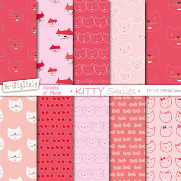 Cat Digital Paper Pack Cats Digital Background Kitten Printable Paper Pink Paper Cute Digital Wrapping Paper _ Personal + Commercial Use