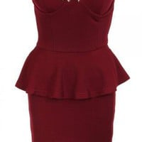 Wine Strapless Bandeau Peplum Dress with Studded Bust