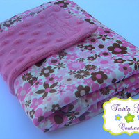 Pink Minky Bubble & Flower PUL Travel Diaper Changing Pad