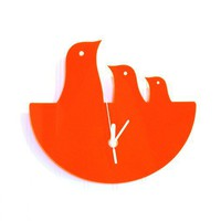 Orange Bird Nest Hanging Clock