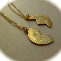 Best friends necklaces, two brass and gold fill necklaces