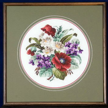 Red Poppies, White Daisies and Purple Violets in Cross Stitch - Stained Pine Framed Picture