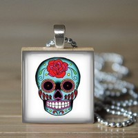 Sugar Skull Pendant - Turquoise with a Red Rose