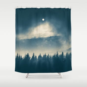 Follow the light Shower Curtain by Tomas Hudolin