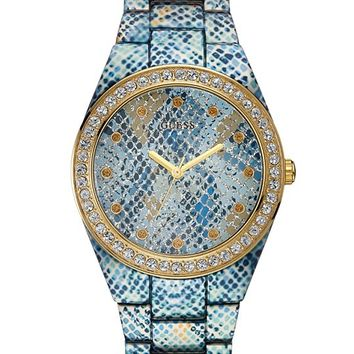 Blue Python-Print and Gold-Tone Sexy Sport Watch   GUESS.com