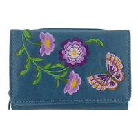 Purple flower & butterfly vegan/faux leather small wallet with embroidery - 