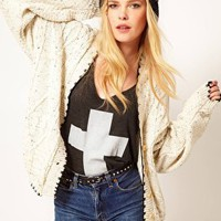 Hearts &amp; Bows Aran Knit Boyfriend Cardigan with Contrast Stitch at asos.com