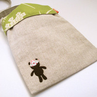 Floral and Beige Teddy Bear Sling Bag