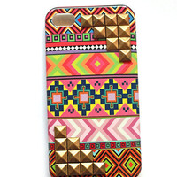 Tribal print iphone 4 case with studs in pinks and reds, cellphone cover, Hard case, iPhone Cover, cover for Android,