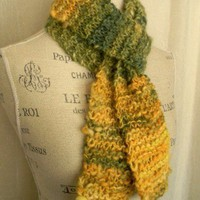 Autumn Aspen Knit Scarf Handspun Handpainted Baby Alpaca and Angora