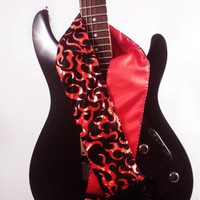 Red Flames Guitar Strap on Black Satin Custom Handmade