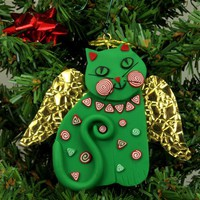 Green Angel Cat Christmas Ornament, Smiling, Handmade, Polymer Clay