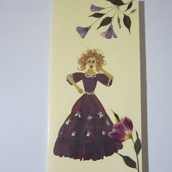 """Handmade unique greeting card """"You may need to get angry sometimes"""" - Decorated with dried pressed flowers and herbs - Original art collage."""