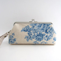 Wristlet frame clutch- blue roses on natural beige