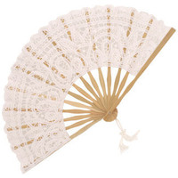 Battenberg Lace Fan in White