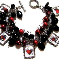 Dark Hearts Charm Bracelet Handmade Beaded Glass