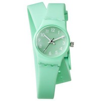 Xhilaration® Mint Green Rubber Double Strap Watch