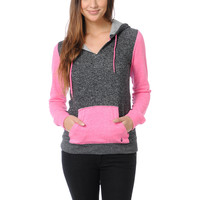 Volcom Girls Stacker Black & Neon Pink Pullover Hoodie