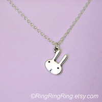 Tiny bunny necklace on adjustable sterling silver by RingRingRing
