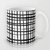 Essie - Grid, Black and White, BW, grid, square, paint, design, art Mug by CharlotteWinter