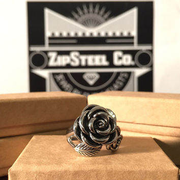 Women's Stainless Steel Rose Ring- Size 8
