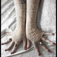 Golden Wheat Lace Fingerless Glove Mittens  by ZenAndCoffee