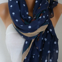 Navy Blue Polka Dot Scarf Spring Shawl Oversize Scarf Cowl Scarf Gift Ideas for Her Women Fashion Accessories Women Scarves Mother Day Gift