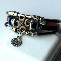 Hand-woven fashion brown genuine leather bracelet with multiple beads BY7