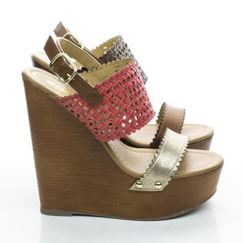 Marie Wooden Platform Wedge Sandal w Woven Strap.