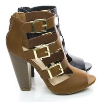 Mash13 Peep Toe Stacked Chunky Heel Zipper Triple Buckle Strappy Sandals