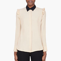 Marni Beige Silk Frilled Sport Blouse for Women | SSENSE