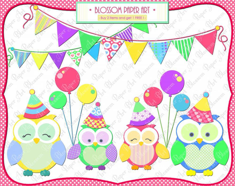 Cute Owls Party Clipart Clip Art - .. on from ...