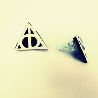 Harry Potter Deathly Hallows Earrings by FoundYourBottle on Etsy