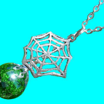 Spider Web Halloween Green Crackle Glass Marble Necklace