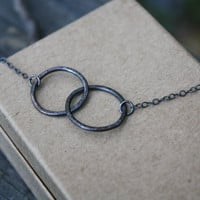 Rustic Intertwined Necklace - Double Circle Necklace - Oxidized Argentium Silver Artisan Necklace