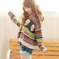 FANCYQUBE V-NECK SWEATER PULLOVER JUMPER MULTI-COLOR S/M 1410