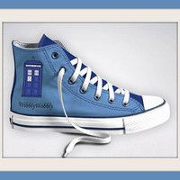 Custom Designed Doctor Who Tardis Wibbly Wobbly Inspired Converse Sneakers, All Star High-Tops, Tardis Blue
