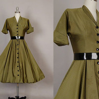 vintage 1950s dress 50s dress full skirt taffeta olive green stripe party dress