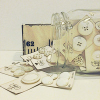 Vintage Buttons,Buttons in Jar,Buttons on Cards,La Mode Buttons, White Buttons,Sewing,Crafts,Shabby Chic