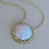 Opal Necklace, Glass Opal Pendant Necklace
