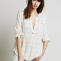 Free People Womens Checkered Deep V Boyfriend Shirt