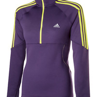 Buy Adidas Response 1/2 Zip Full Neck Long Sleeve Top, Purple/Green online at JohnLewis.com