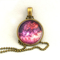 10% SALE - Necklace Copper, Pink Milky Way, Dark Nebula, Galaxy Jewelry, Spring Summer, Universe, Space, Pendant Necklaces, Special Gift
