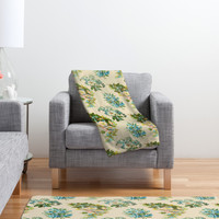 Allyson Johnson Spring Blue Floral Fleece Throw Blanket