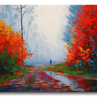 "Large 40"" WET FALL PAINTING commissioned Autumn  landscape impressionism by Graham Gercken"