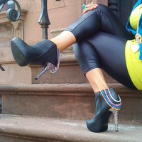 Black Booties Shoes with Chains &amp;  Rainbow Glitter Heel Sizes 8.5