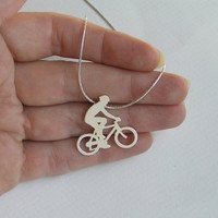 Sterling Silver Bicycle Necklace Pendant - Bicycle Rider Pendant - Hand Cut - Bicycle jewelry
