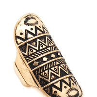 tribal-print-shield-ring GOLDBLK SILVERBLK - GoJane.com